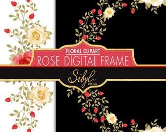 60% OFF SALE, Digital  Rose Frame Clip Art, Floral Frames Clipart, Wedding Digital Roses Frames and Borders, Rose Divider, PNG