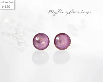Violet Glossy Stud Earrings Periwinkle Color Mini Tiny 6mm Stainless Steel Gold Plated Posts plus High Quality Epoxy Resin 120