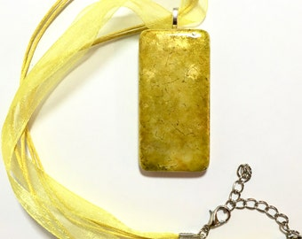 Handmade Jewelry - Yellow Pendant Necklace for Women - Alcohol Inks Domino - Bridesmaid Gift - Gift for Her - Gifts Under 20 - Boho Jewelry