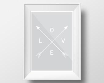 Grey Wall Art, Printable Decor, Grey Wall Decor, Love Art, Love Wall Prints, Charcoal Art, Grey Decor, Love Wall Art, Printable Art