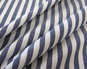 cotton fabric woven stripes blue white 1cm France