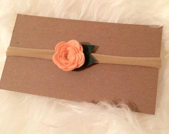 Peach Felt Rose Nylon Headband