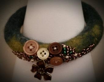 Green teal wet felted bangle/bracelet