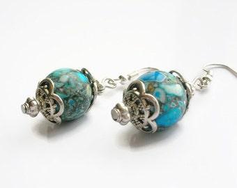 Blue gem beads earrings