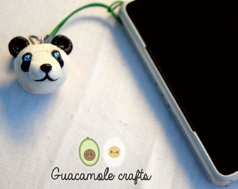 Pendant - Keychain for mobile, panda bear / Panda cell phone keychain.