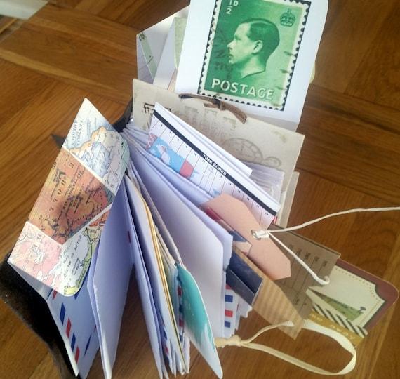 Leather Travel Journal Travelers Notebook Envelope Pockets