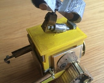 Model of Pixar Wall-e made from 3D printing and watch parts