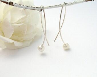 Silver Earring 925,Ohrring bead, long earrings, elegant pearl earrings, festive Pearl Jewelry, pearls, pendant earrings with sez beads