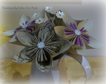 4 Origami Flowers with Daisy Cluster,  Vintage Flowers, Home Decor, Single flowers, Grey & Purple, Clock Faces, Paper Flower Bouquet