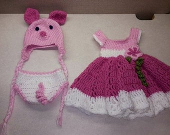 Infant Hat, Diaper Cover and Dress