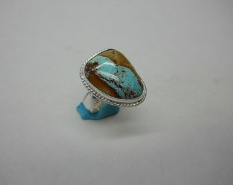 Sterling Silver Ring Set With Pilot Mountain Turquoise