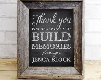 Jenga Block Rustic Wedding Guest Book - Build Memories - sign a jenga block - PRINTABLE - 8x10 - 5x7