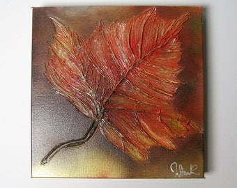 Fall Leaf, Texture Painting, Nature Painting, Autumn Leaf, Rustic Painting, Handmade Original Painting, Maple Leaf Painting, Home Decor
