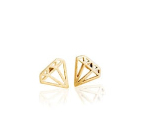 18 k gold plated earrings diamond