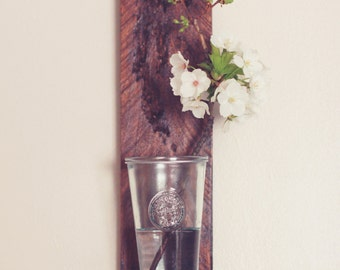 Reclaimed wood, wall flower shelf. Hand made.