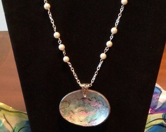 Fabulous faux abalone shell necklace