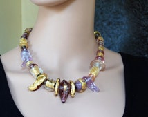 Summer Sale One of a Kind Necklace - Purple - Unique - Colorful: Gold, Silver, Purples, and Lavender- Artisan Lamp work-Flame work - Stat...