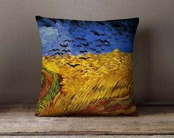 Wheat Field Crows Van Gogh Painting Pillowcase   Decorative Throw Pillow Cover   Cushion Case   Designer Pillow Case   Birthday Gift Idea