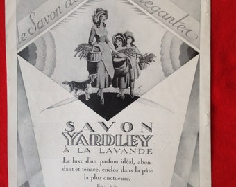 French vintage Art Deco advert poster Yardley soap genuine ad no repro