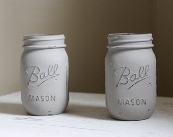 Set of Two Tan Mason Jars