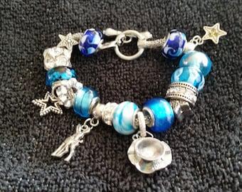 Starry Night Pandora Style charm bracelet