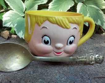 Vintage Campbell Soup Kid Mug and Spoon, Campbell Girl,