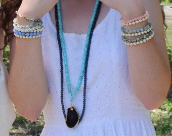 Turquoise and Matte Black Stone Necklace