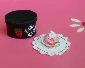 Dollhouse miniature strawberry ice cream- polymer clay