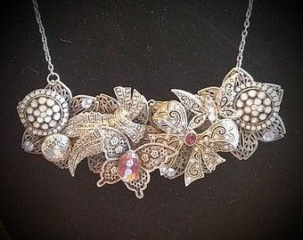 Vintage brooch and bauble repurposed necklace