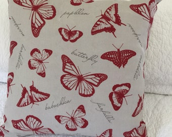 """Butterfly Deep Red on Taupe background cushion cover - 45 x 45 cm (18 x 18"""")"""