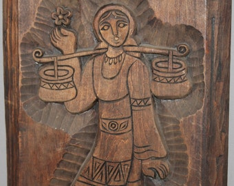 Vintage Hand Carved  Wood Wall Hanging Plaque Woman With Folk Dress