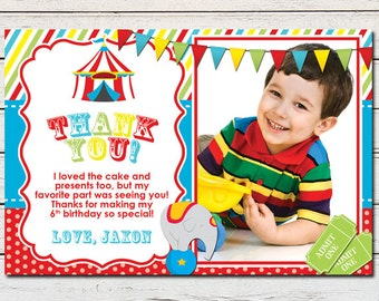 "Circus Carnival Printable 4"" x 6"" Thank You Card - DIY - PDF & JPG Files only"