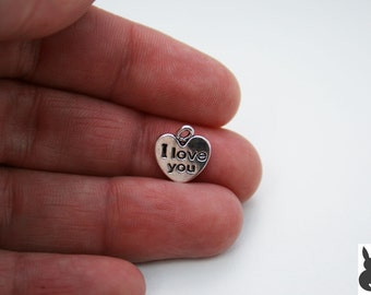 25 x I Love You Heart Charms  Tibetan Style Antique Silver FREE SHIPPING