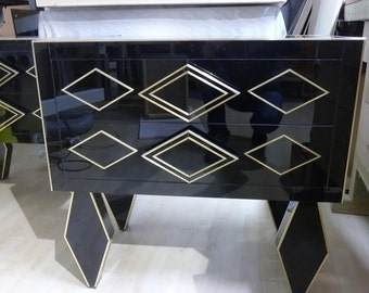 Beautiful Black Mirrored Nightstand. Chest of drawers. Espectacular romboid legs. Custom  made. Hand made.