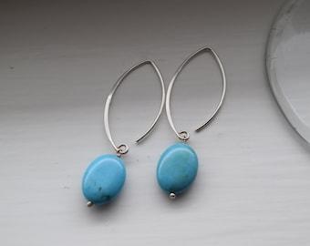 Bright blue sterline silver earrings