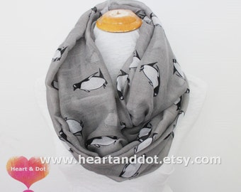 Gray Penguin Infinity Scarf, Voile Soft Year-Round Scarf, Lightweight Scarf, Fall Accessory, Winter Scarf, Fall Scarf, HeartandDot, Scarf