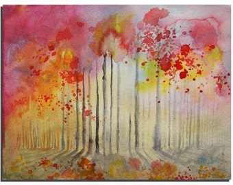 """Forest 10""""X8"""" Original Watercolor painting by Tatjana Ruzin, Original Painting Abstract Landscape Painting Original Art, Birthday Gift"""