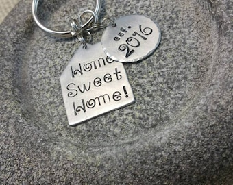 Stamped Keychain, Housewarming Gift, New Home Owner, New Home, New Home Gift, New House, New House Gift, Home Sweet Home, Hand Stamped