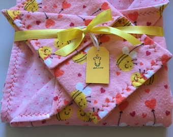 Baby girl soft flannel blanket and burp cloth. Coral with little bumble bees.