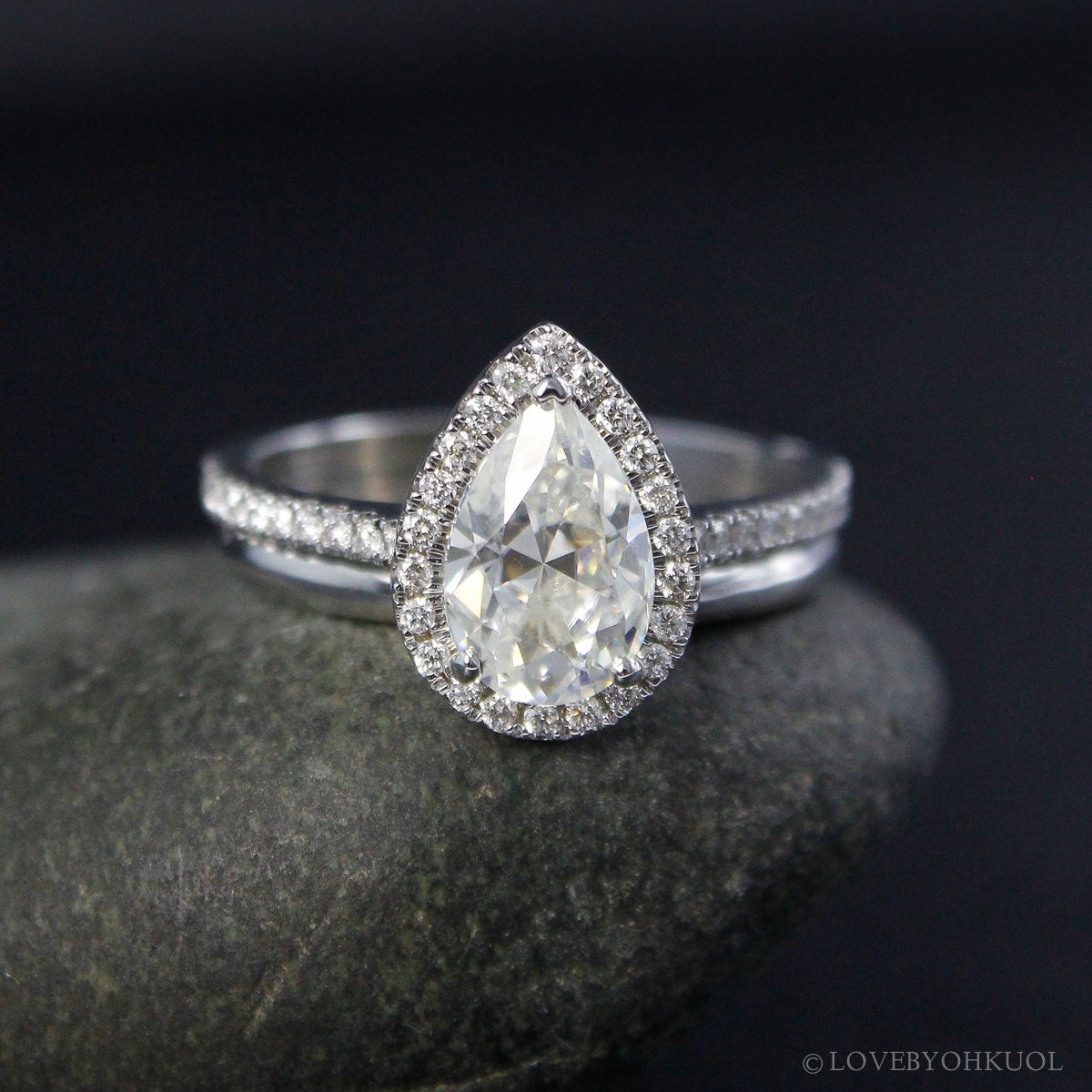 forever one white gold pear moissanite halo diamond engagement. Black Bedroom Furniture Sets. Home Design Ideas