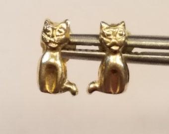 Delicate 14K Cat Post Earrings