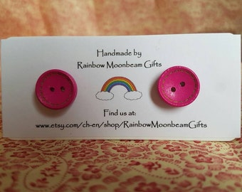 Handmade Wooden Button Earrings, Pink Buttons, Stud Earrings, Silver plated