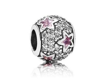 Authentic Pandora FOLLOW THE STARS Pink Charm Bead
