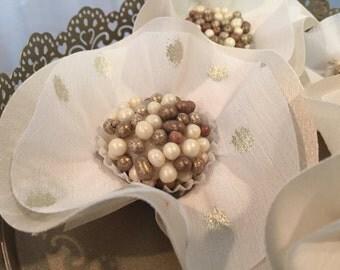 "100 Luxury Silk / Satin / Burlap Ballerina Flowers - ""CANDY CUPS"" for Chocolate Truffles  Wedding Dessert Table or Chocolate Bar Display"