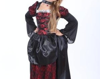 Girls Halloween Vampire costume halloween kid costume girl Vampire costume kid Vampire costume girl halloween costume gothic girl dress