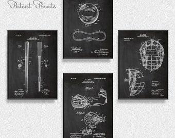 Baseball Patents Set of 4 Prints, Baseball Print, Baseball Poster, Baseball Patent, Baseball Art, Baseball Wall Art, Coffee Shop Decor