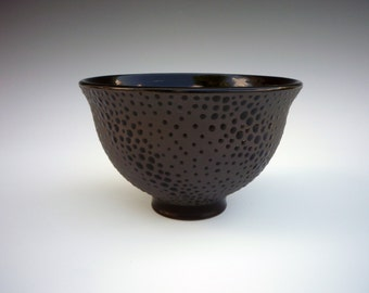 Black on Black dotted cereal bowl 6 1/4 x 4 in