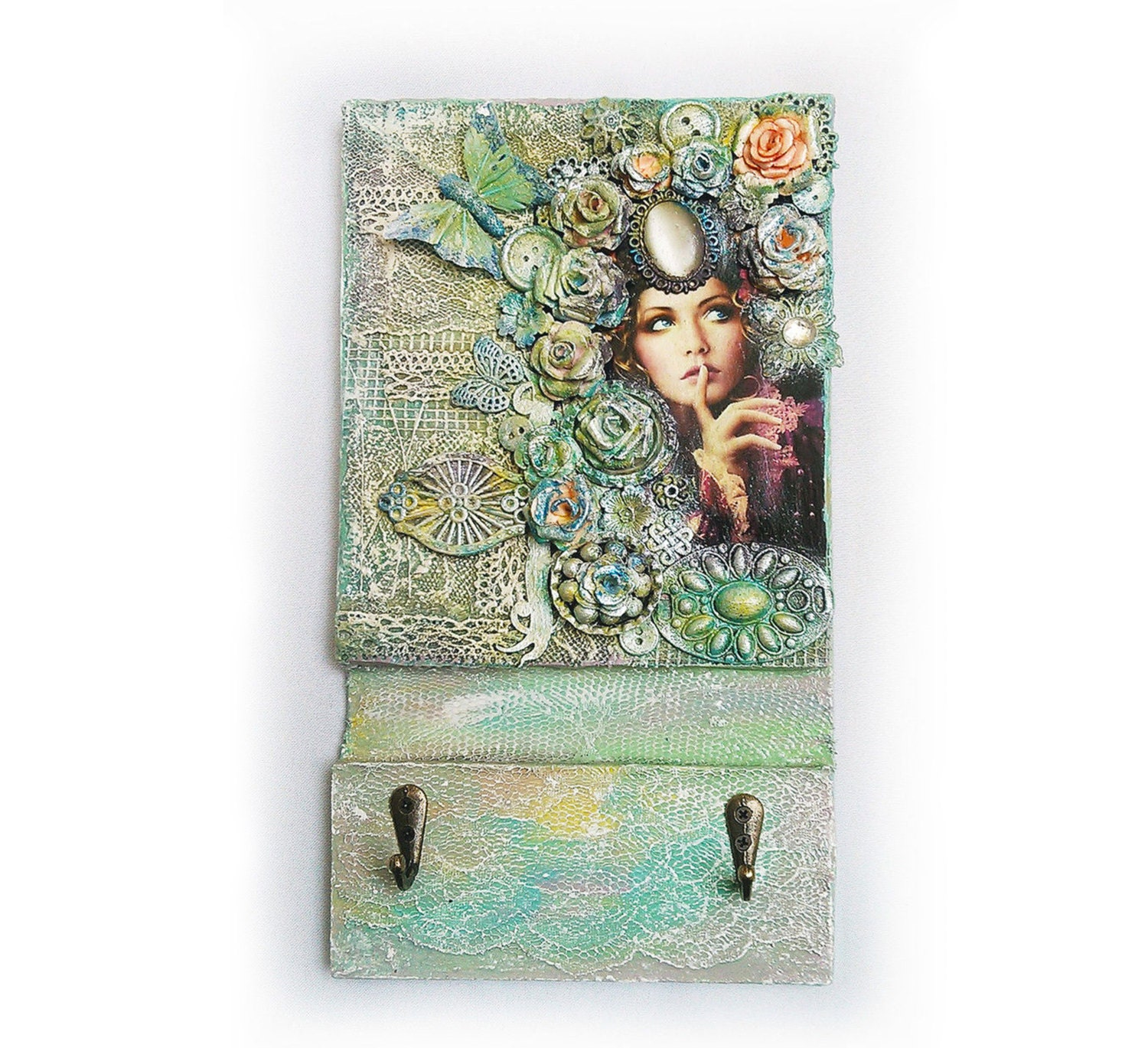 Key holder wall decor housekeeper custom keyholder wood holder for Mural key holder