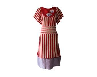 Vintage Geoffrey Beene Documented Quilted Silk Stripe Dress 1981