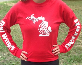 Detroit Red Wing Michigan Inspired Long Sleeve